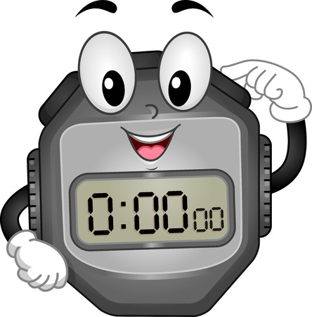 Mascot Illustration of a Digital Stopwatch Pressing its Button