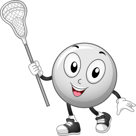 Mascot Illustration of a Lacrosse Ball Holding a Lacrosse Stick Stock Photo