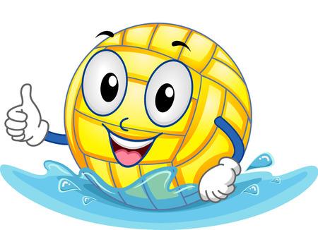 water polo: Ilustración Mascota Con una bola del water polo con un pulgar hacia arriba