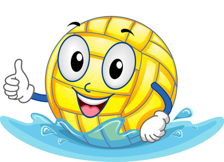 waterpolo: Mascot Illustratie Met een Waterpolo Bal geven een thumbs up Stockfoto