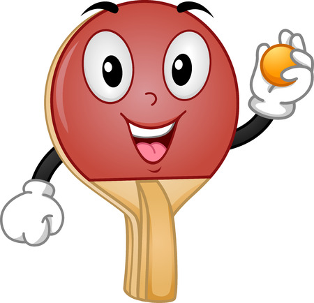 table tennis: Mascot Illustration of a Table Tennis Racket Holding a Ball Stock Photo
