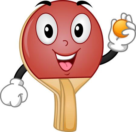 pelota caricatura: Mascot Ilustraci�n de una raqueta de tenis de mesa de la celebraci�n de una bola Foto de archivo