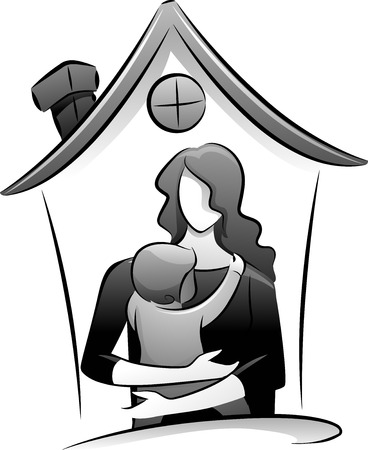 Icon Illustration Featuring the Outlines of a Babysitter and a Child Drawn in Black and White illustration