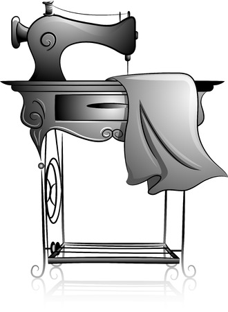 Icon Illustration Featuring a Treadle Sewing Machine Drawn in Black and White