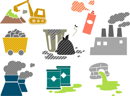 environmental problems: Illustration Featuring Different Elements Depicting Biohazards