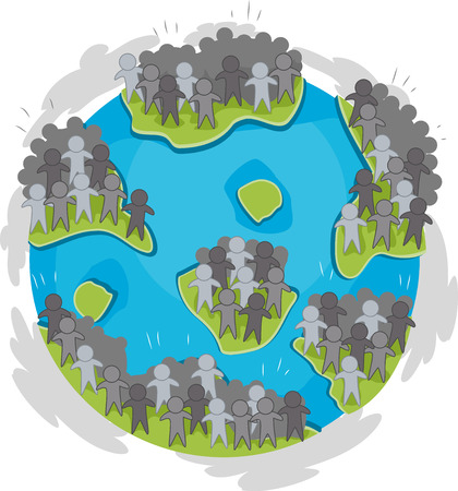 overpopulation: Illustration of a Globe with Large Groups of Humans Scattered Around