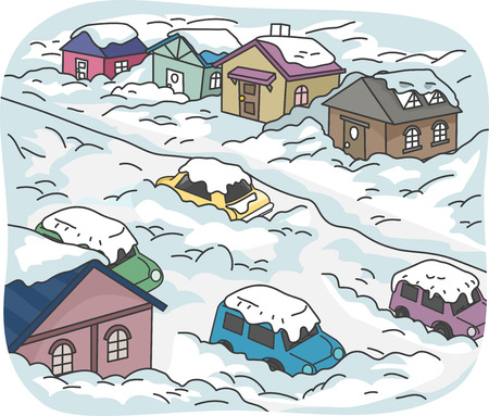 blizzard: Illustration Featuring a City Buried in Snow Stock Photo