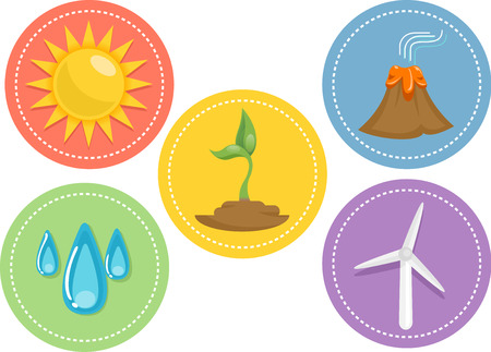 sources: Icon Illustration Featuring Different Sources of Renewable Energy