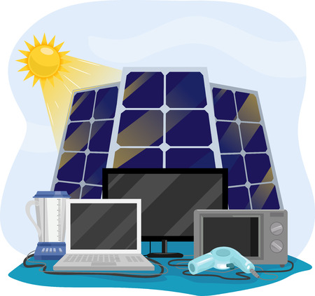 hooked up: Illustration Featuring Different Appliances Hooked Up to Solar Panels Stock Photo