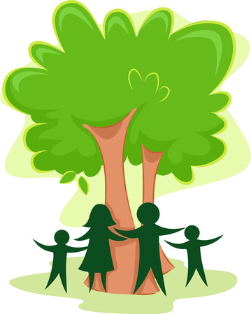 family clip art: Icon Illustration Featuring the Outline of a Family Standing in Front of a Tree