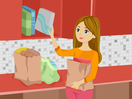 pantry: Illustration of a Girl Arranging Groceries in the Cupboard