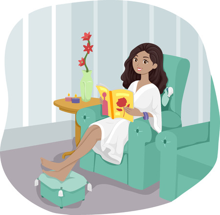 pampered: Illustration of a Girl at a Spa Waiting for Her Turn to be Pampered Stock Photo