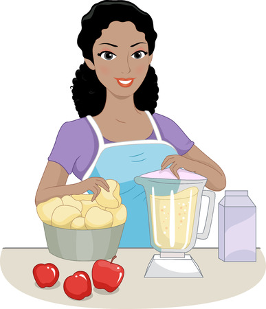puree: Illustration of a Girl Using a Blender to Make Apple Puree