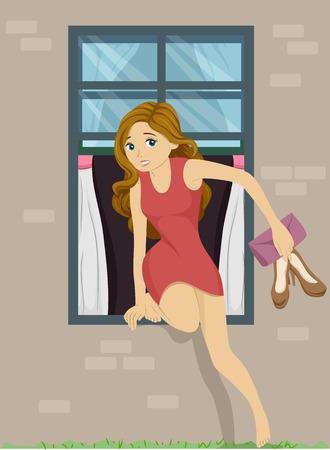 Illustration von einem Mädchen heimlich aus ihrem Schlafzimmerfenster aus Standard-Bild - 28752092