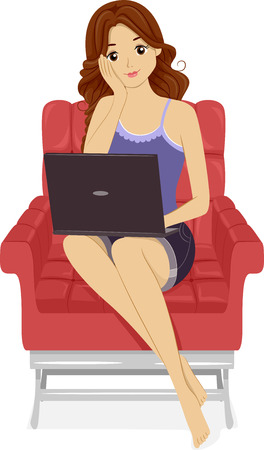 girl with laptop: Illustration of a Girl Using Her Laptop at Home