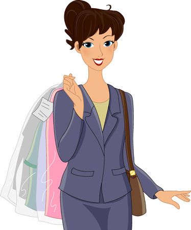 picked: Illustration of a Girl in an Office Attire Carrying Clothes She Picked Up from the Dry Cleaners