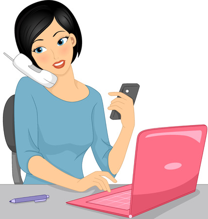 Illustration of a Girl Typing on Her Laptop While Talking on the Phone Stock Photo