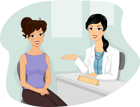 regular people: Illustration of a Girl Visiting Her Doctor for a Medical Checkup