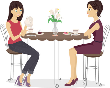 preadult: Illustration of a Mother and Daughter Having Tea Together