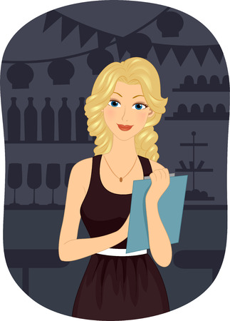 event planning: Illustration of a Girl Holding a Clipboard Planning for a Party