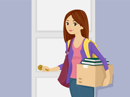 dorm: Illustration of a Girl Bringing Her Belongings in the Dorm Stock Photo