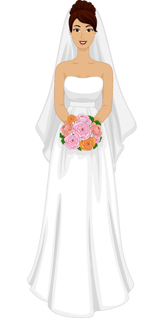 blushing: Illustration of a Lovely Latina Bride in Her Wedding Dress