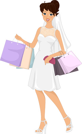 purses: Illustration of a Lovely Bride on a Shopping Spree