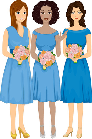 bridesmaids: Illustration Featuring Bridesmaids of Different Races Stock Photo