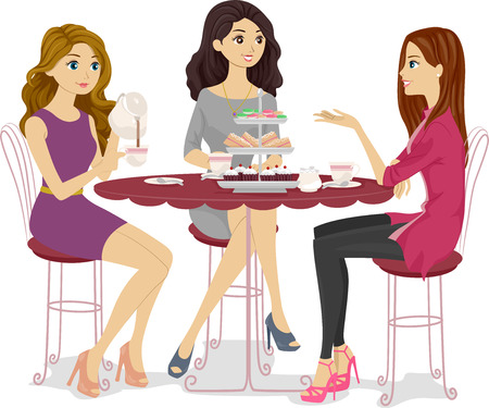 Illustration of a Group of Friends Having a Tea Party Stock Photo