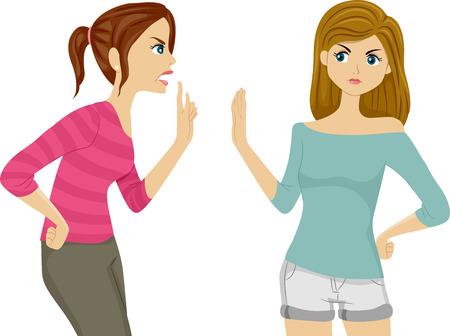 mujeres peleando: Ilustraci�n de dos mujeres adolescentes Argumentando