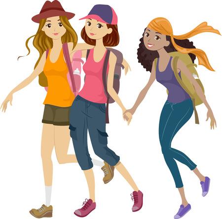 Ilustración de un grupo de adolescentes fuera a un viaje Montañismo Foto de archivo - 28752118