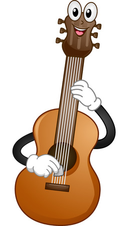 cartoonize: Mascot Illustration of an Acoustic Guitar Plucking its Strings