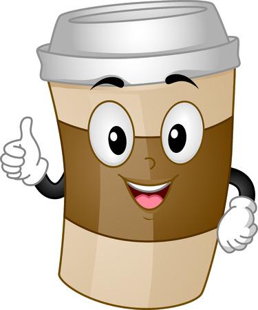 Mascot Illustratie van een kopje koffie voor Take-out geven een thumbs up Stockfoto