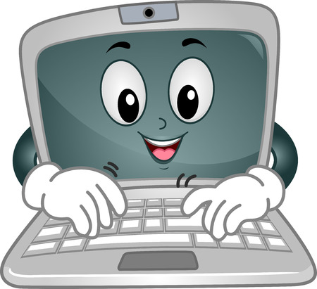 encode: Mascot Illustration Featuring a Laptop Typing Away on its Keyboard Stock Photo