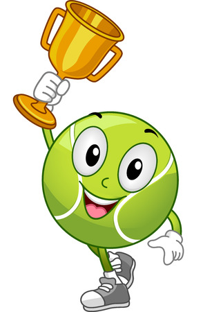 sporting event: Mascot Illustration Featuring a Lawn Tennis Ball Holding a Gold Trophy