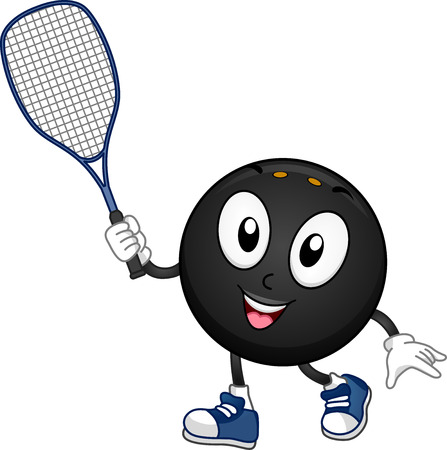 cartoonize: Mascot Illustration Featuring a Squash Ball Holding a Racket