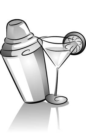 Icon Illustration Featuring a Cocktail Shaker and a Cocktail Glass Drawn in Black and White illustration