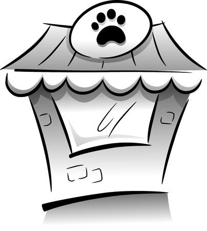 tienda de animales: Icono Ilustraci�n que ofrece una tienda de mascotas Dibujado en Blanco y Negro