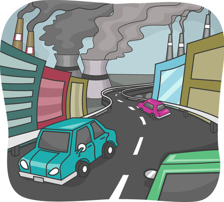 industrialization: Illustration Featuring an Industrialized City with High Levels of Pollution Stock Photo