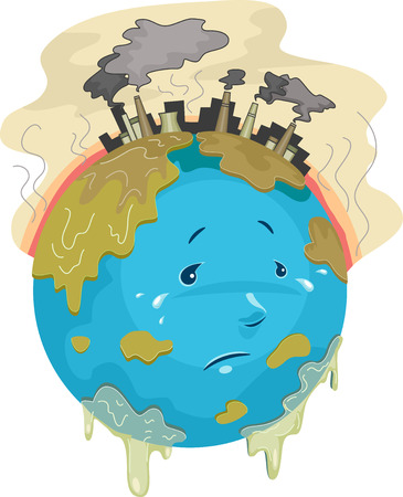 overpopulation: Illustration Featuring a Sad Globe with Toxic Chemicals Dripping All Over it Stock Photo