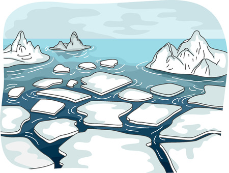 meltdown: Illustration Featuring Melted Glaciers Drifting in the Middle of the Sea