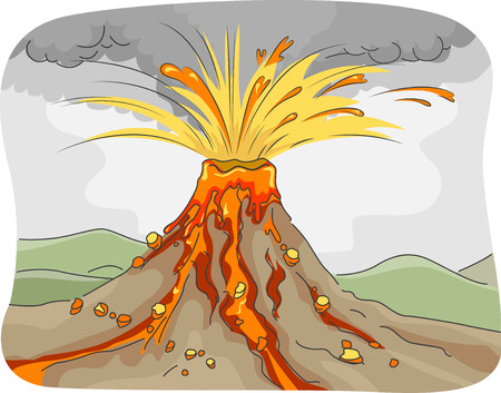 Illustration Featuring an Erupting Volcano Spewing Lava, Ashes, and Rocks, ,  illustration