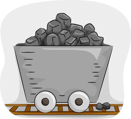 coal mine: Illustration Featuring a Mine Trolley Full of Coal