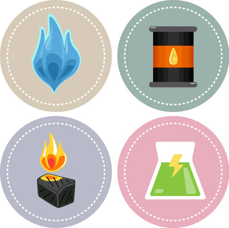 sources: Icon Illustration Featuring Sources of Non-renewable Energy (natural gas, oil, coal and nuclear) Stock Photo