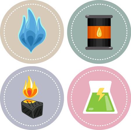 Icoon Illustratie Met bronnen van niet-hernieuwbare energie (aardgas, olie, kolen en kernenergie)