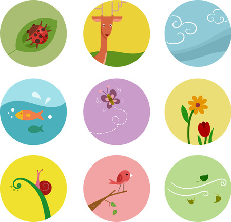 organisms: Icons Illustration Featuring Elements Depicting Different Living Organisms  Stock Photo
