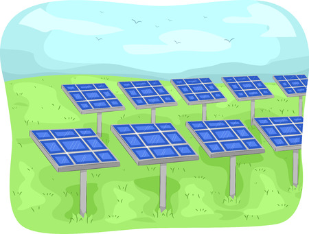 sources: Illustration Featuring Solar Panels in an Open Field Stock Photo