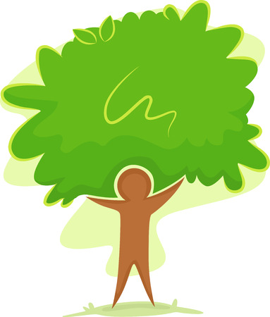 permaculture: Icon Illustration Featuring the Outline of a Man Standing in Front of a Tree