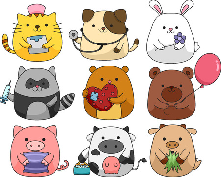 cuddly: Illustration of a Set of Cute and Cuddly Animals