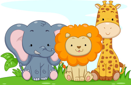 woods: Illustration Featuring Cute Baby Safari Animals